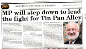 March 5th feature in this week's The London Weekly News, Westminster & Pimlico News, Kensington & Chelsea News, and Fulham Newspapers, regarding our new Chairman, the Right Hon Frank Dobson MP for Holborn & St Pancras